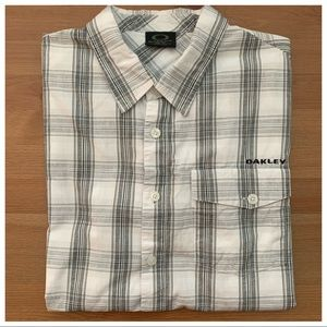 Oakley White Plaid Short Sleeve Button Down
